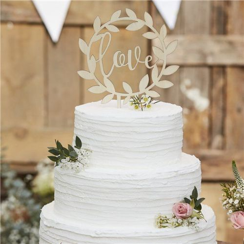 Rustic Country Wooden Love Cake Topper (each)